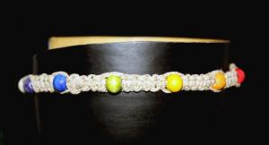 Die Farben der 7 Chakren: Weiß (Kronenchakra), Violett (Stirnchakra), Blau (Halschakra), Grün (Herzchakra), Gelb (Solarplexuschakra), Orange(Sakralchakra), Rot (Wurzelchakra)